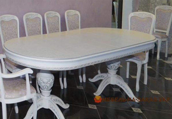 большой стол обеденный из массива дуба