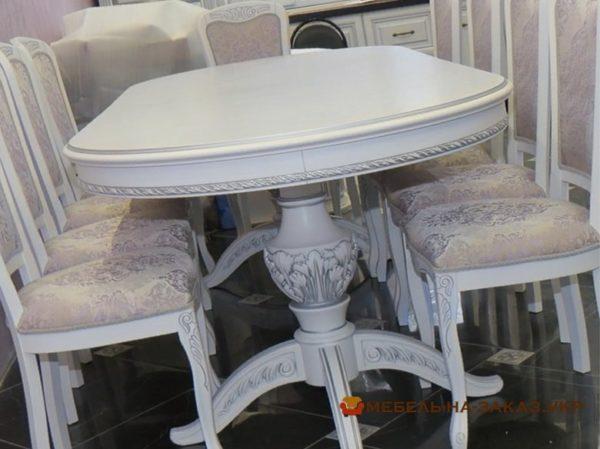 белый авторский стол с резьбой