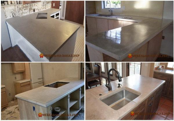 кухня заказная с бетонной столешницей
