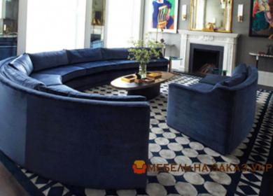 синий круглый диван