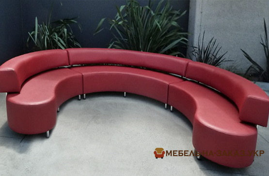 круглый диван красного цвета на заказ