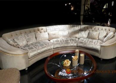 угловой радиусный диван белый
