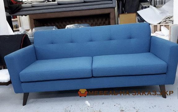 синяя прямая мягкая мебель на заказ