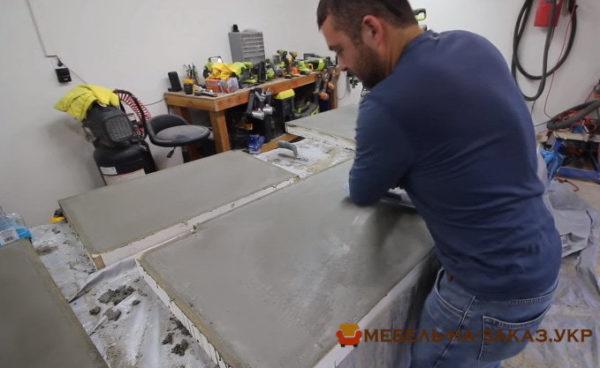 столешница из бетона для угловой кухни