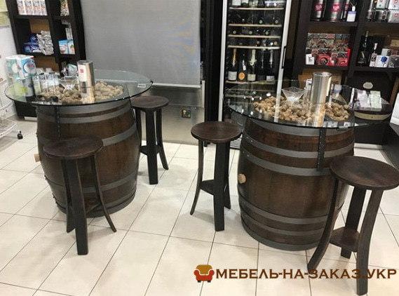 столы-бочки в ресторан на заказ