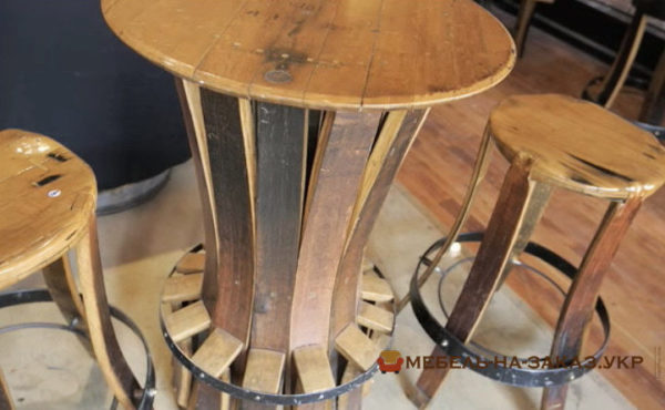 деревянная мебель из дубовых бочек на заказ