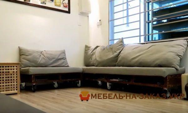 угловой диван из поддонов для дачи