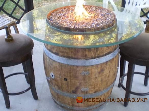столик с газовой горелкой в виде бочки
