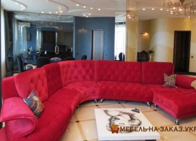 круглый красный диван