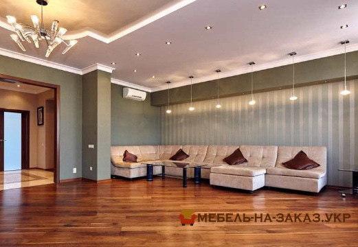элитный угловой диван в гостиную с пуфиком на заказ