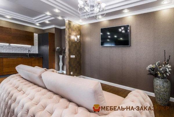 белые прямые диваны в зал на заказ