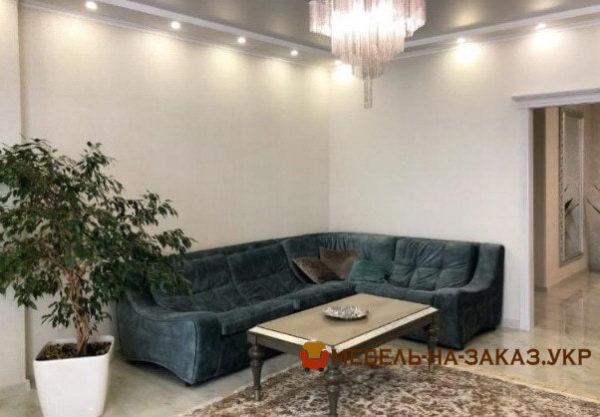 авторский угловой диван в гостиную с пуфиком на заказ Вишневое