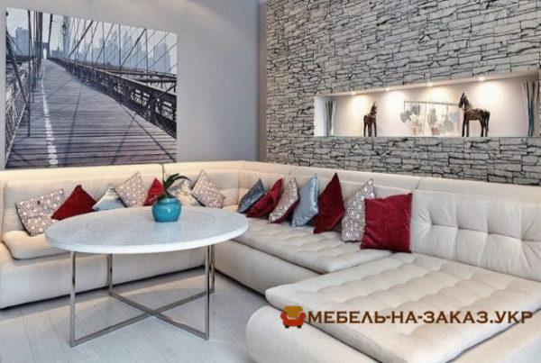 угловая мягкая мебель в гостиную на заказ Петровцы