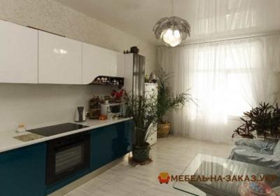 Элитная Угловая бело-синяя кухня
