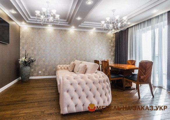 заказать дизайнерский диван для гостиной белый