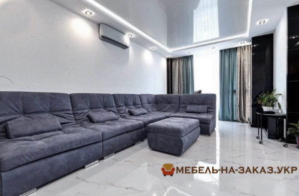 элитный угловой диван в гостиную с пуфиком
