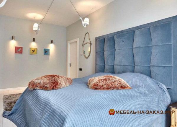 купить мягкую синюю кровать