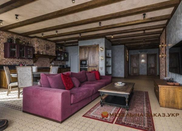 авторский красный диван прямой в гостиную