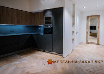 кухня с синей подсветкой на заказ в Киеве
