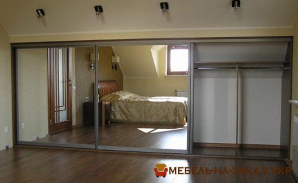 изготовление шкафа-купе с зеркальными дверями на заказ Вишневое