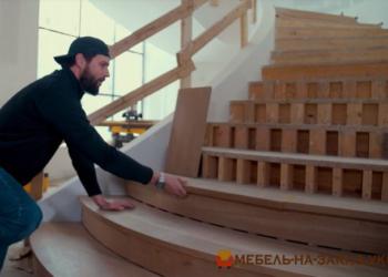 деревянная лестница радиусная