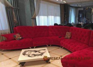в ресторан угловой красный диван на заказ