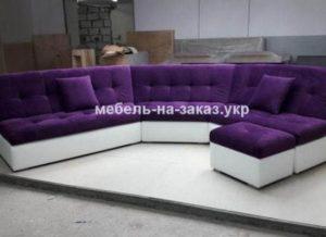 бело сиреневый диван угловой