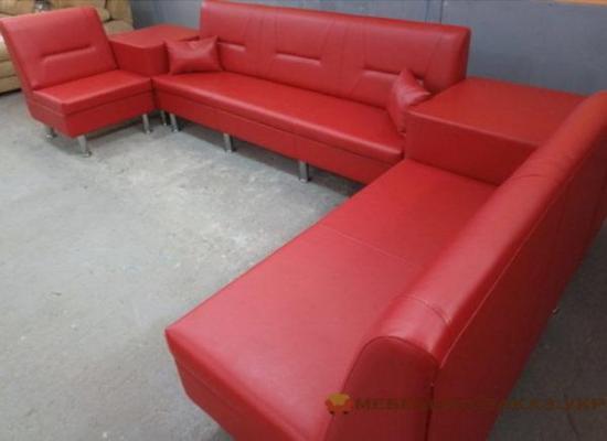 большой угловой красный диван