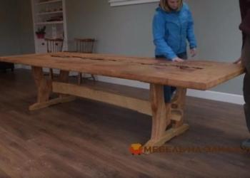 деревянный стол река на заказ в кухню