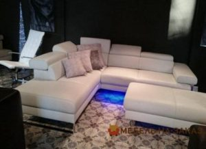 кожанный угловой диван под заказ с подсветкой