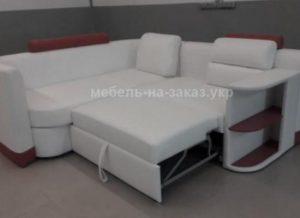 кожанный угловой диван под заказ со спальным местом