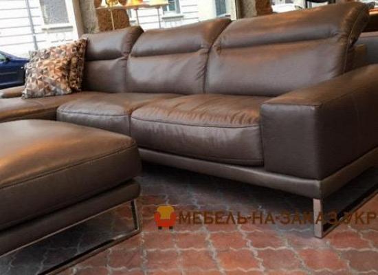 кожанный угловой диван под заказ с пуфом