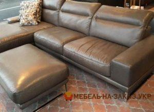 кожанный угловой диван под заказ с пуфиком