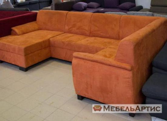 кожанный угловой диван оранжевый