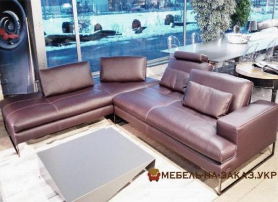 кожанный угловой диван в гостинную