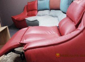 кожанный угловой диван с реклайнером
