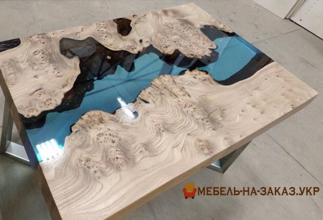 Стол река из Слэбов Дуба под заказ в Киеве