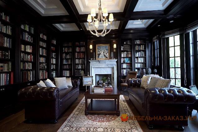 библиотека в кабинет в стиле класика