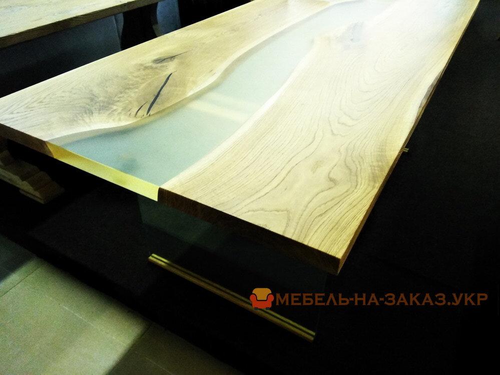 деревянная столеница с эпоксидной смолой под заказ для кухонного стола