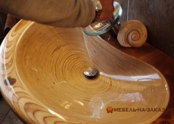 большая деревянная мойка под заказ