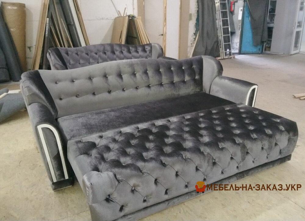 изготовление диванов раскладных честер серый