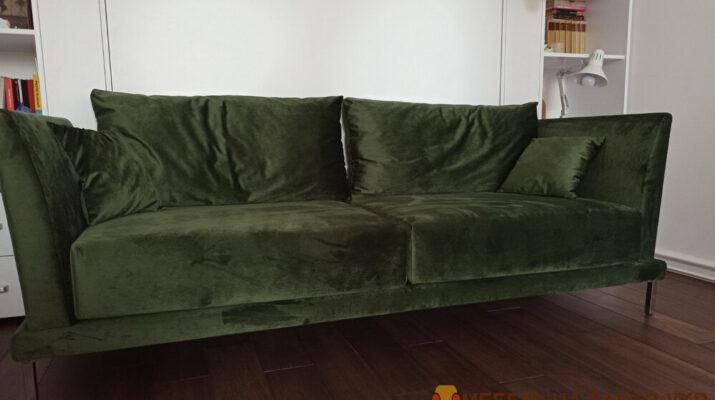 зеленый прямой диван в гостиную под заказ