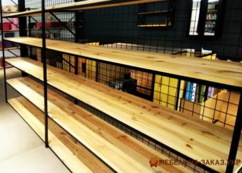деревянный стеллаж лофт