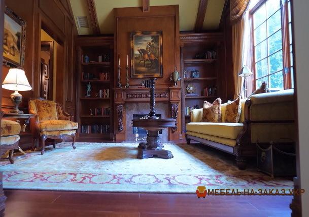 элитная мебель в кабинет из дерева с камином