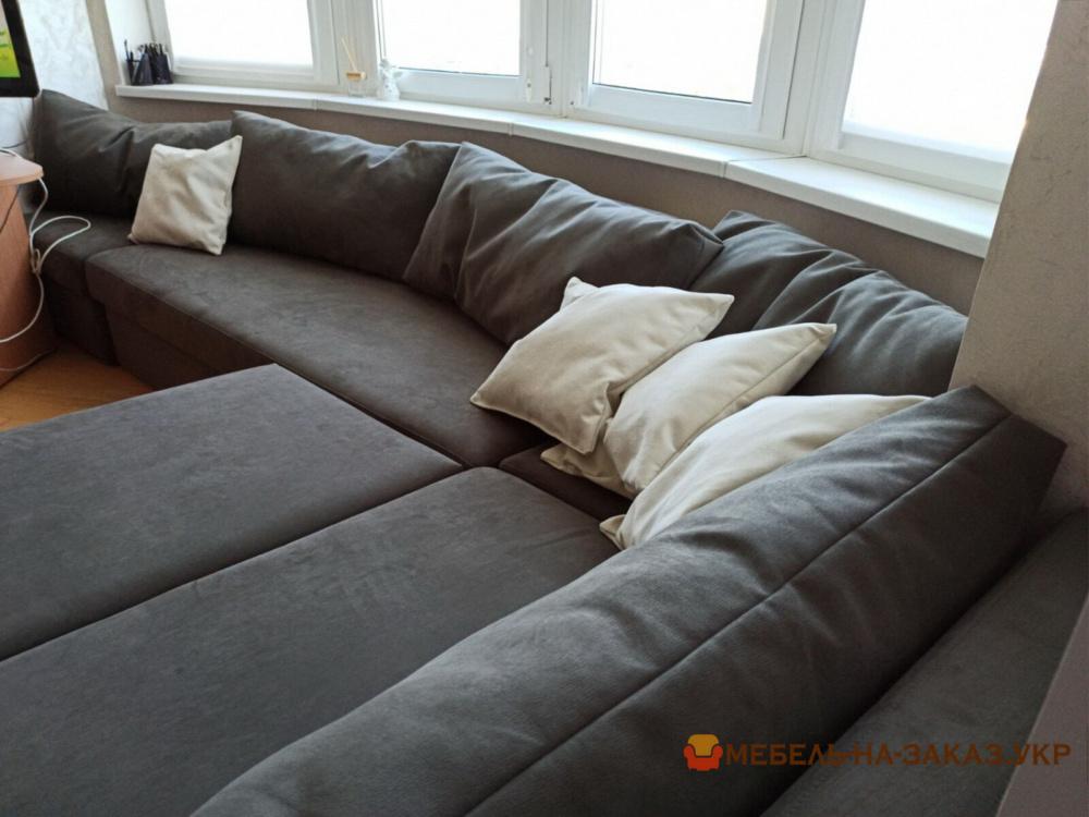 нестандартный раскладной диван с подушками угловой серый на заказ в Киеве
