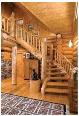 лестница в доме сруб