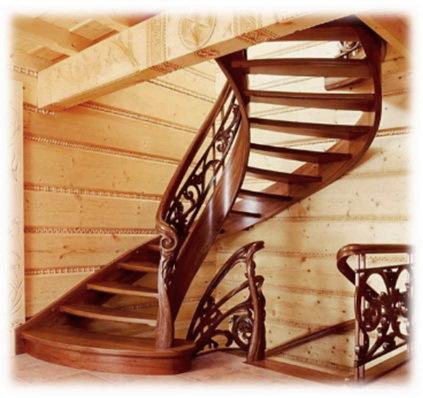кругловая лестница из дерева на второй этаж