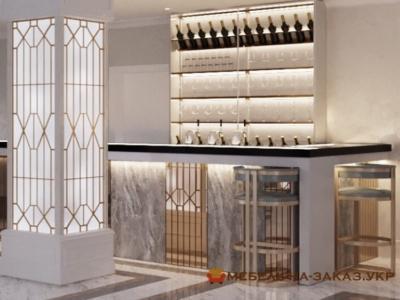 проэкт мебели для отеля из стекла и камня