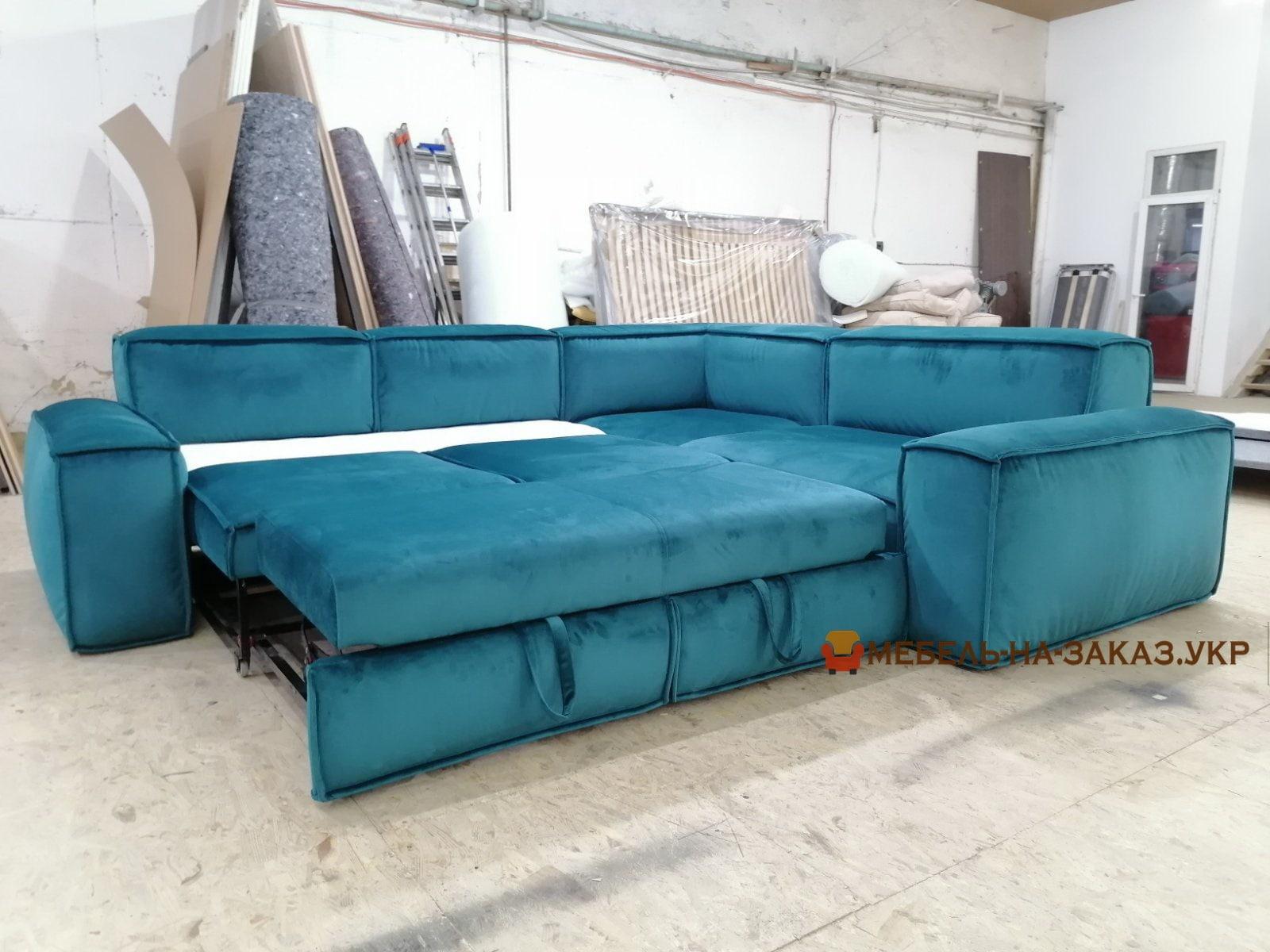 раскладная мягкая мебель голубая
