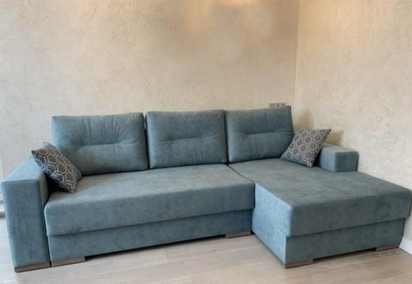 диван угловой модерн синего цвета в спальню